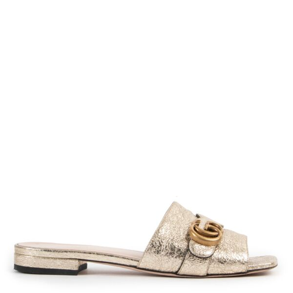 Gucci GG Gold Slippers - Size 38
