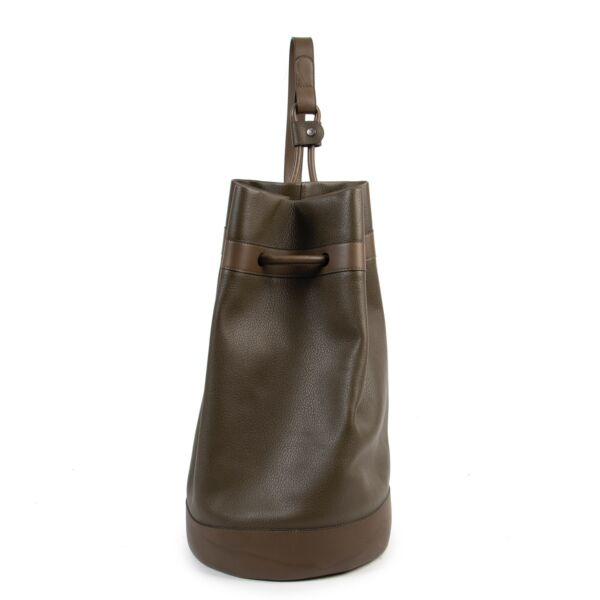 Deux de Delvaux Khaki Green Drawstring Bucket Bag