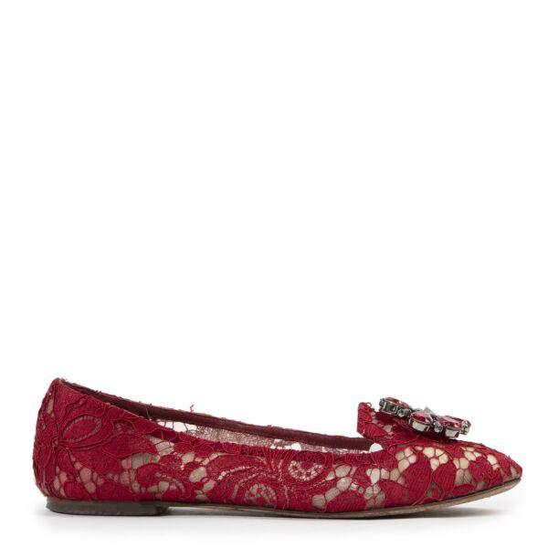 Dolce & Gabbana Red Lace Ballerina Flats - size 39.5