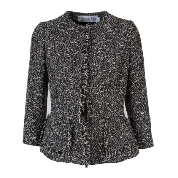 Christian Dior Black Tweed Jacket - Size 34