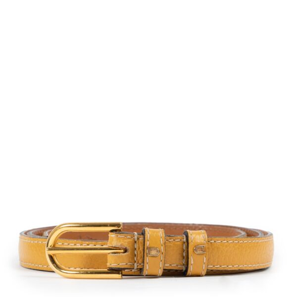 Shop safe online at Labellov in Antwerp this 100% authentic second hand Delvaux Yellow Belt - Size 80