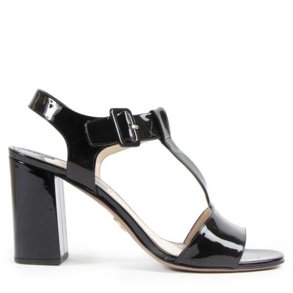 Authentic secondhand Prada Black Patent Leather Heel Sandals - Size 41 designer shoes fashion luxury vintage webshop safe secure online shopping