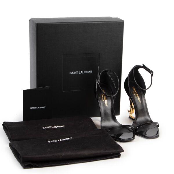 Saint Laurent Black Patent Leather Opyum Sandals - Size 36,5