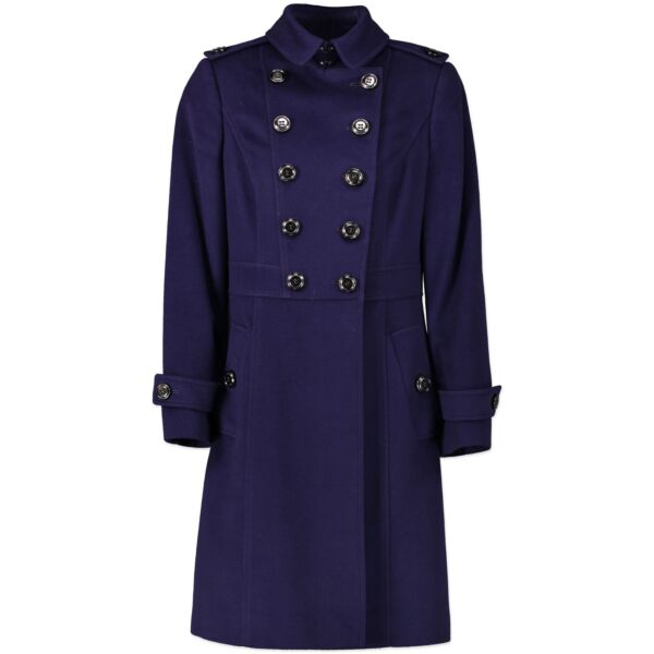 Burberry Purple Wool and Cashmere Blend Coat- size EU36