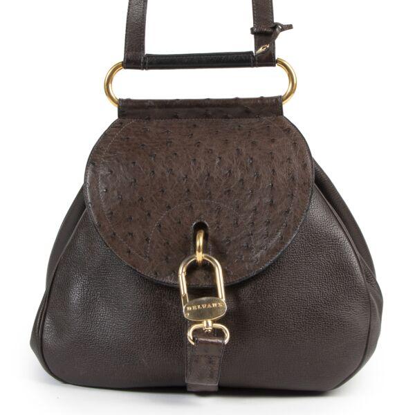 Delvaux Brown Ostrich Leather Cerceau Bag tweedehands te koop