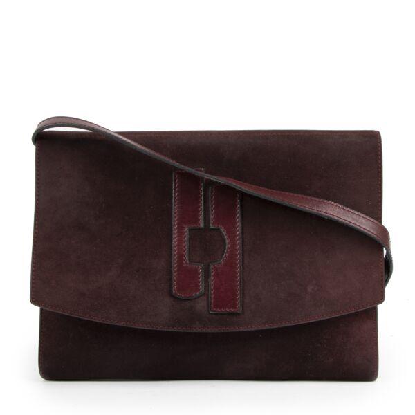 Delvaux Vintage Burgundy Suede Crossbody Bag te koop aan de beste prijs van 2020