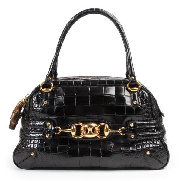Gucci Black Croco Wave Boston Bag aan de beste prijs bij Labellov tweedehands luxe in Antwerpen