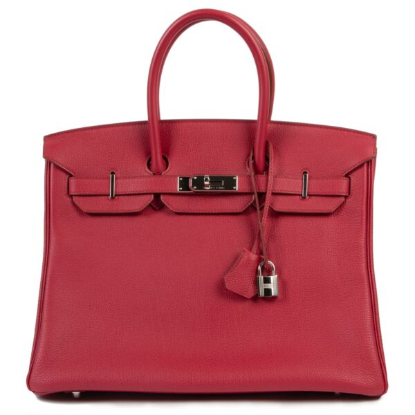 Shop safe online 100% authentic Hermès Birkin 35 cm Rubis Togo PHW in as new condition at the right price at Labellov in Antwerp.