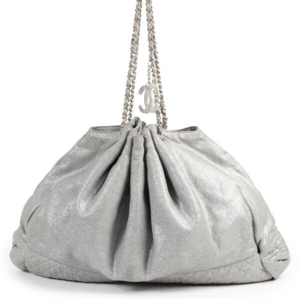 Authentieke Tweedehands Chanel Melrose Cabas Tote Fabric Grey Shoulder Bag juiste prijs veilig online shoppen luxe merken webshop winkelen Antwerpen België mode fashion