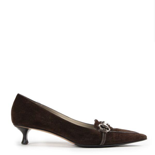 Authentieke Tweedehands Gucci Brown Suede Kitten Heels - Size 38 juiste prijs veilig online shoppen luxe merken webshop winkelen Antwerpen België mode fashion
