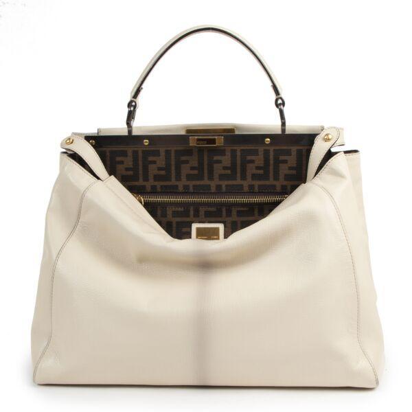 Authentieke Tweedehands Fendi White Leather Peekaboo Bag juiste prijs veilig online shoppen luxe merken webshop winkelen Antwerpen België mode fashion