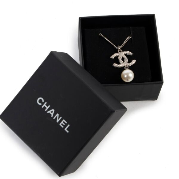 Chanel Silver Crystal Twisted CC Pearl Drop Pendant Necklace