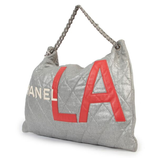 Chanel Silver & Red LA Shoulder Bag