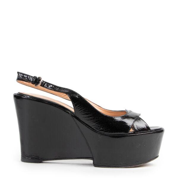 Sergio Rossi Black Patent Sandal Wedges - Size 36