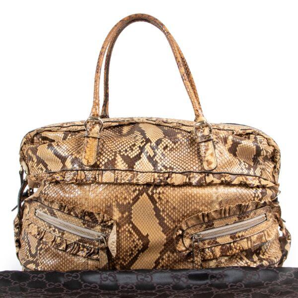 Gucci Beige Python Shoulder Bag
