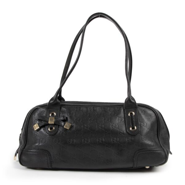 Authentic secondhand Gucci Black Princy GG Leather Mini Boston Bag designer bags fashion luxury vintage webshop safe secure online shopping