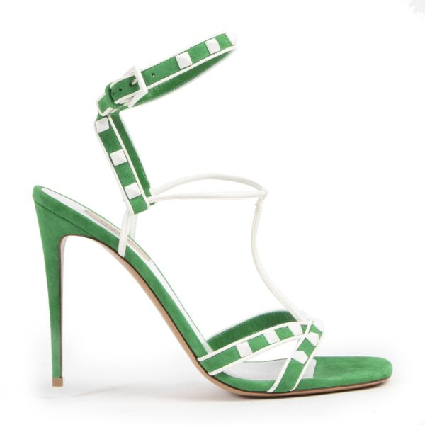 Authentieke Tweedehands Valentino Garavani Peppermint Green Rockstud Sandals - size 40 juiste prijs veilig online shoppen luxe merken webshop winkelen Antwerpen België mode fashion