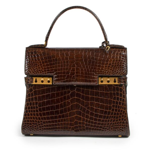 Delvaux Tempete Croco Brown GHW for the best price at Labellov