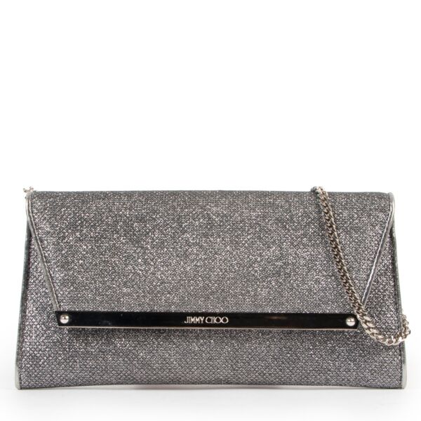 Jimmy Choo Silver Clutch in very good condition on Labellov designer site for vintage 2nd hand goods
