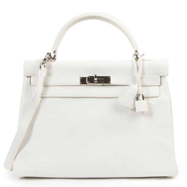 Authentieke Tweedehands Hermès Kelly 28 Blanc PHW juiste prijs veilig online shoppen luxe merken webshop winkelen Antwerpen België mode fashion