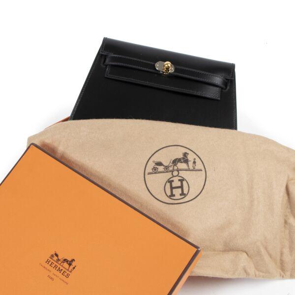 Hermès Black Box Calf Vintage Kelly Clutch