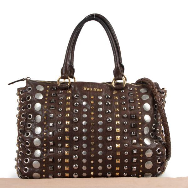 Miu Miu Brown Leather Studded Shoulder Bag