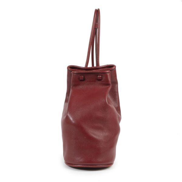 Deux De Delvaux Red Leather Bucket Bag