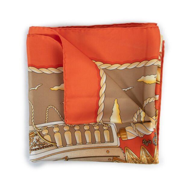 Hermès Paris Railings Orange Carré Scarf