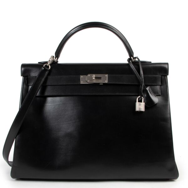 Hermès Kelly 40 Black Boxcalf Brushed Hardware