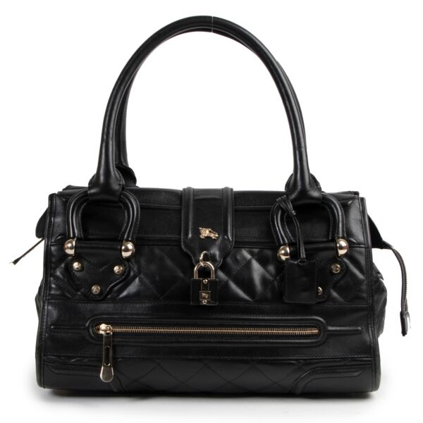 Burberry Black Quilted Leather Manor Satchel Shoulder Bag