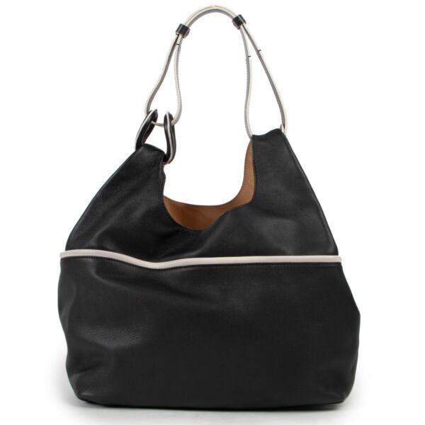 Delvaux Givry With Me Borderline Black & Ivory Shoulder Bag