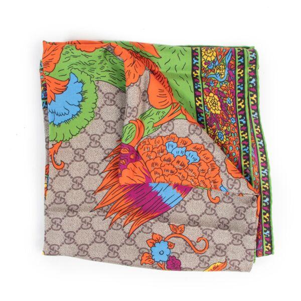 Shop safe online authentic Gucci Monogram Floral Silk Scarf.