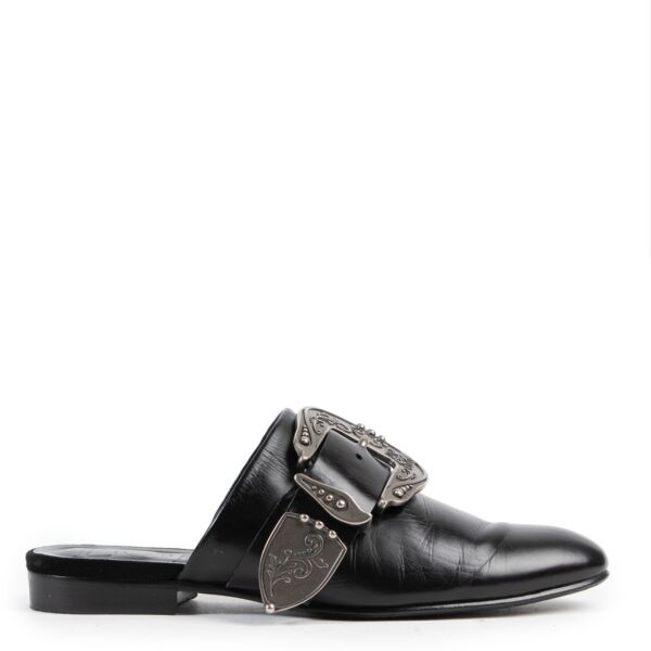 Shop safe online authentic second hand Loewe Black Leather Loafers in Size 37.