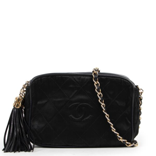 Shop safe online 100% authentic second hand Chanel Black Quilted Camera Crossbody Bag in very good condition at Labellov in Antwerp.