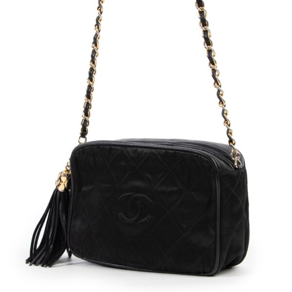 Chanel Black Quilted Satin Camera Crossbody Bag