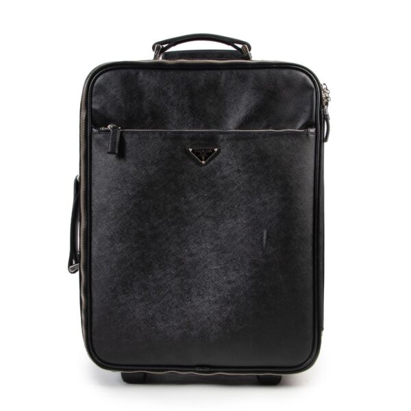 Shop safe online authentic second hand Prada Black Saffiano Leather Travel Bag at the right price in good condition.