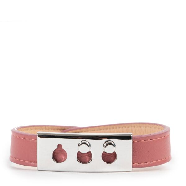 Original Delvaux Pink Tempete Leather Bracelet in good condition on Labellov Luxury