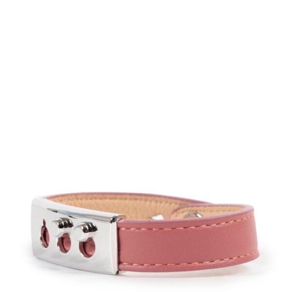 Delvaux Pink/Beige Tempête Leather Bracelet