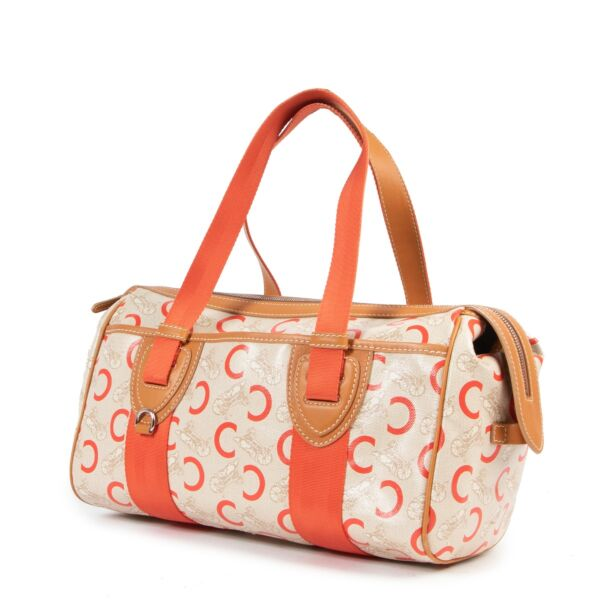 Céline Beige Orange Canvas C Macadam Shoulder Bag