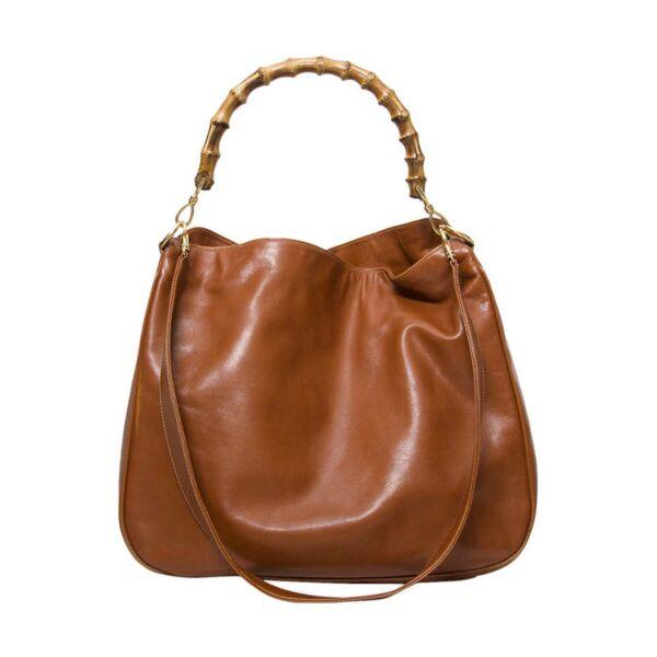 tweedehands vintage Gucci handtas online Gucci Cognac Miss GG Bamboo Hobo Bag
