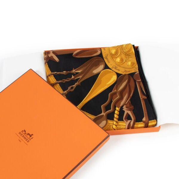 Hermès Black Cuillers D'Afrique Silk Scarf