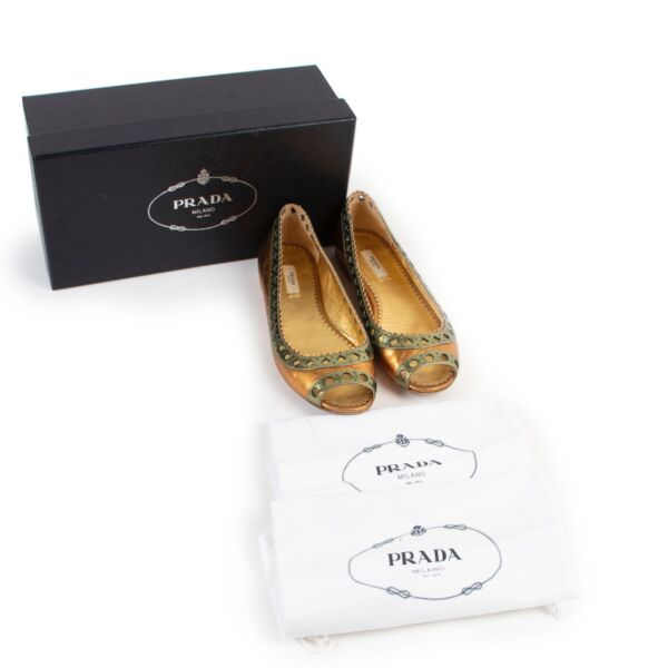 Prada Gold Leather Flats - Size 38