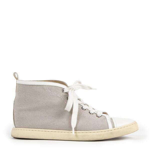 Authentieke Tweedehands Hermès White Fabric High Top Sneakers - Size 37 juiste prijs veilig online shoppen luxe merken webshop winkelen Antwerpen België mode fashion