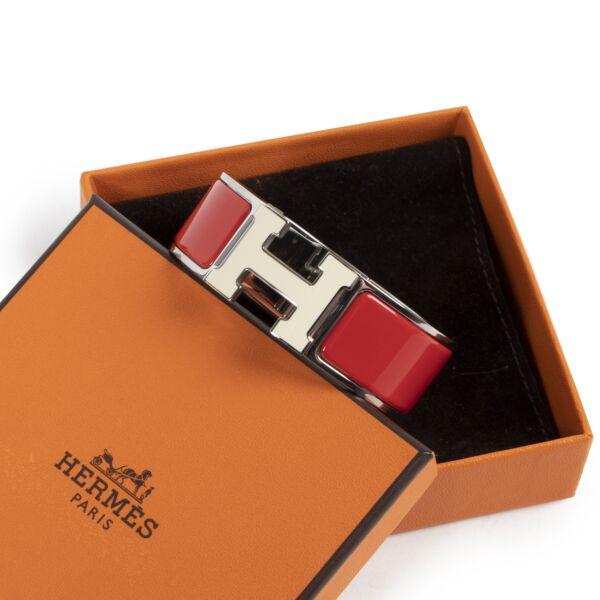 Hermès Clic Clac H Bracelet Red & White PHW