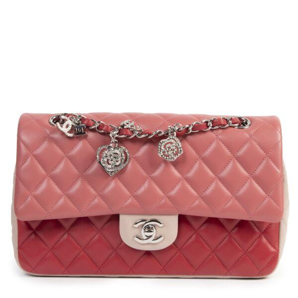 koop online tegen de beste prijs Chanel Tricolor Quilted Valentine Crystal Hearts Flap Bag