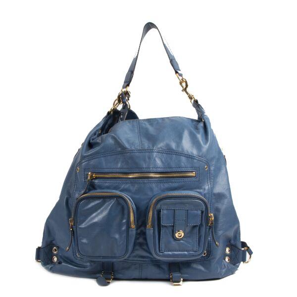 Gucci Blue Lambskin Large Darwin Convertible Backpack acheter en ligne secodne main Gucci Blue Lambskin Large Darwin Convertible Backpack