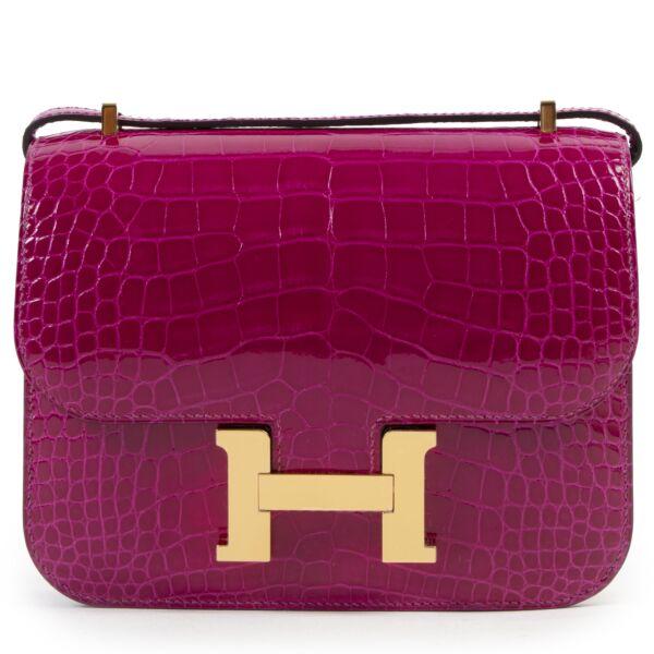 Hermès Constance 18 Mini Rose Pourpre Crocodile Niloticus GHW for the best price at Labellov