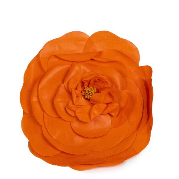 Authentic second-hand vintage Chanel Orange Camellia Flower Brooch Pin buy online webshop LabelLOV