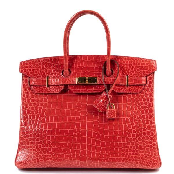 Shop safe online at Labellov in Antwerp this 100% authentic Hermès Birkin 35 Bougainvillier Crocodile Porosus GHW
