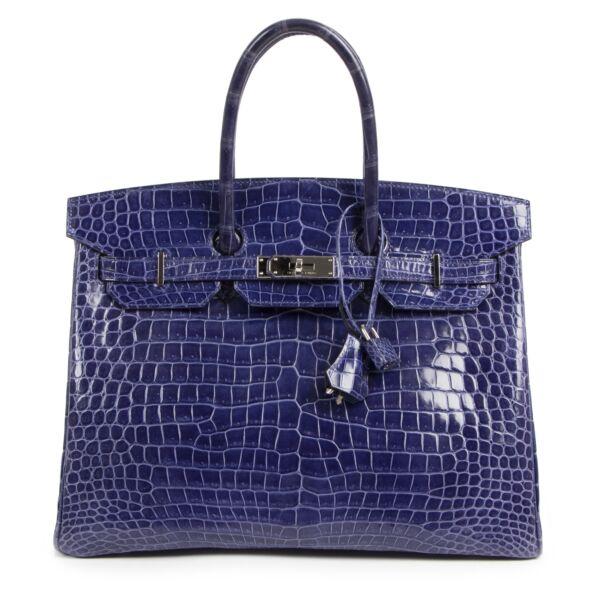 Hermès Birkin 35 Blue Electrique Crocodile Porosus PHW exclusively available at Labellov